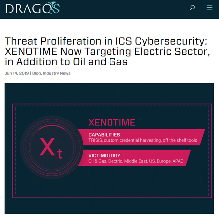 Dragos 社の露拠点脅威グループ「XENOTIME」分析( https://dragos.com/blog/industry-news/threat-proliferation-in-ics-cybersecurity-xenotime-now-targeting-electric-sector-in-addition-to-oil-and-gas/ )